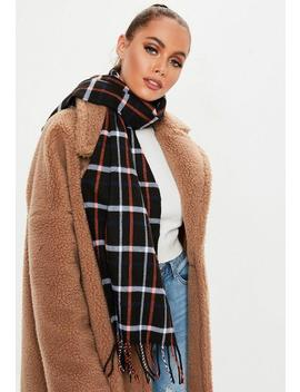 Black Plaid Print Scarf by Missguided