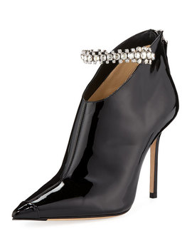 Blaize Crystal Strap Patent Booties by Jimmy Choo