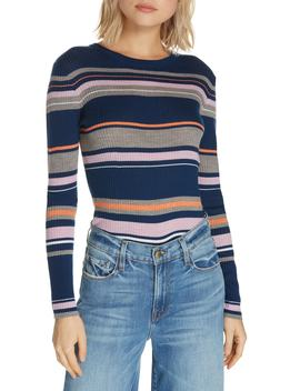 Stripe Crewneck Merino Wool Blend Sweater by Frame