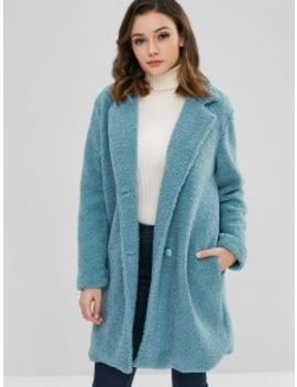 Zaful Fluffy Faux Fur Winter Teddy Coat   Silk Blue S by Zaful