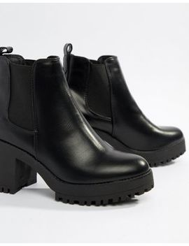 Public Desire Krissie Black Chunky Boots by Public Desire