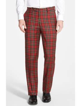 Flat Front Plaid Wool Trousers by Berle
