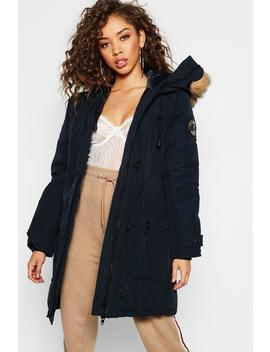 Arctic Padded Jacket With Faux Fur Trim by Boohoo