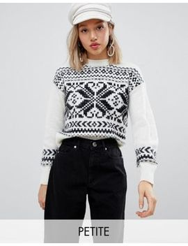 Miss Selfridge Petite Sweater With Fairisle Print by Miss Selfridge