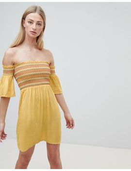 Brave Soul Sunny Bardot Dress With Multi Color Shirring by Casual Dress