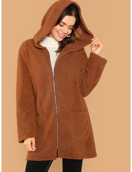 Pocket Front Zip Up Hooded Teddy Coat by Shein