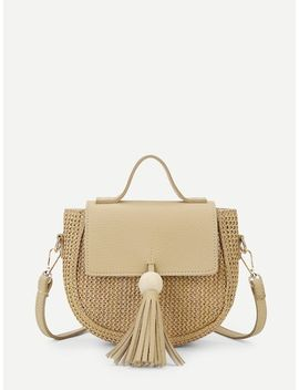 Saddle Crossbody Bag With Tassel by Sheinside