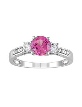 Stella Grace Lab Created Pink Sapphire, Lab Created White Sapphire And Diamond Accent Engagement Ring In 10k White Gold by Kohl's