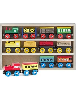 Play22 Wooden Train Set 12 Pcs   Train Toys Magnetic Set Includes 3 Engines   Toy Train Sets For Kids Toddler Boys And Girls   Compatible With Thomas Train Set Tracks And Major Brands   Original by Play22