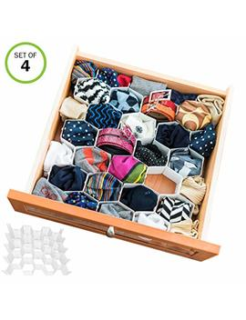 Evelots Drawer Organizer Divider Sock Belt Scarf Underwear 112 Slots Total Set/4 by Evelots