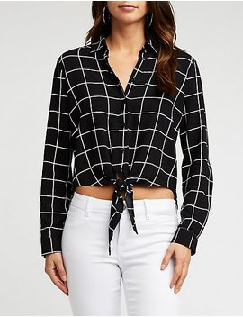 Printed Woven Button Up Shirt by Charlotte Russe