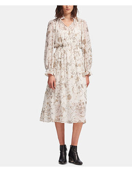 Printed Tie Neck Maxi Dress, Created For Macy's by Dkny