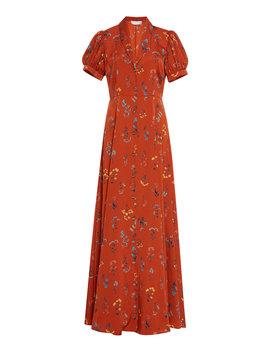 Floral Print Crepe De Chine Maxi Dress by Caroline Constas