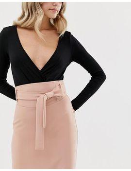 Asos Design High Waist Midi Skirt With Tie by Asos Design