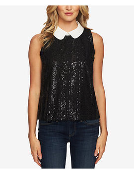 Sequined Peter Pan Collar Sleeveless Top by Ce Ce