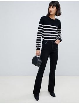 Asos Design Bell Flare Jeans In Clean Black With Pressed Crease by Asos Design