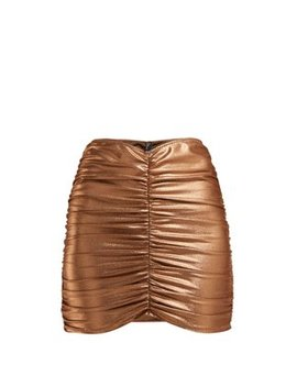 Metallic Ruched Mini Skirt by Lisa Marie Fernandez