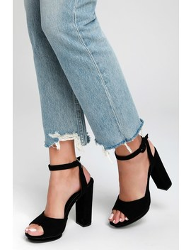 Priya Black Suede Platform Ankle Strap Heels by Lulus