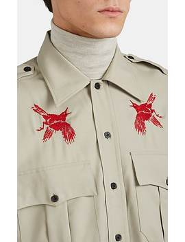 Bird Embroidered Virgin Wool Plain Weave Military Shirt by Lanvin