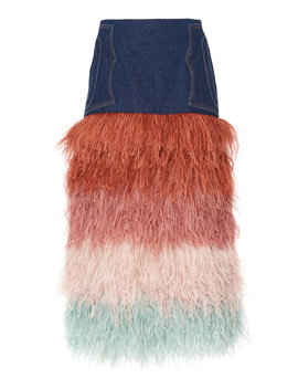 A Visit To Fairyland Denim And Feather Skirt by Johanna Ortiz