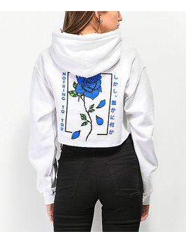 Empyre Blue Flame Rose White Crop Hoodie by Empyre