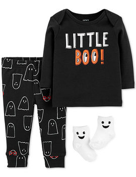 Baby Boys 3 Pc. Little Boo Cotton Top, Pants & Socks Set by Carter's