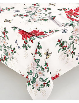 "Butterfly Meadow Poinsettia 60"" X 102"" Tablecloth by Lenox"