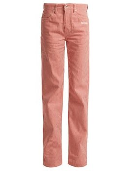 Striped High Rise Straight Leg Jeans by Off White