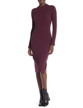 Ribbed Mock Neck Long Sleeve Dress by Socialite