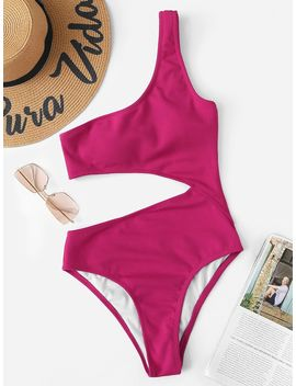 One Shoulder Ribbed Cut Out One Piece Swim by Romwe