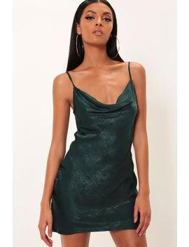 Emerald Cowl Neck Satin Mini Dress by I Saw It First