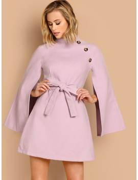 Button Detail Split Sleeve Belted Dress by Shein