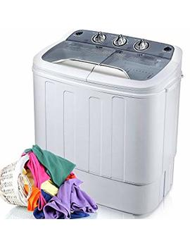 Merax Portable Washing Machine Mini Compact Twin Tub Washer Machine With Wash And Spin Cycle, Fcc Verification Approved (Gray&White) by Merax