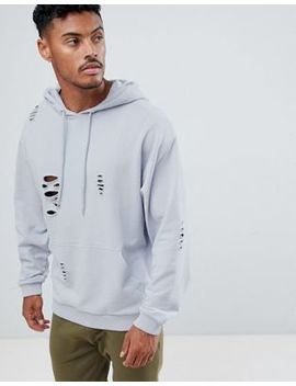 Asos Design Oversized Hoodie With Nibbling In Gray by Asos Design