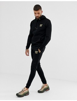 11 Degrees Hoodie In Black With Gold Logo by 11 Degrees