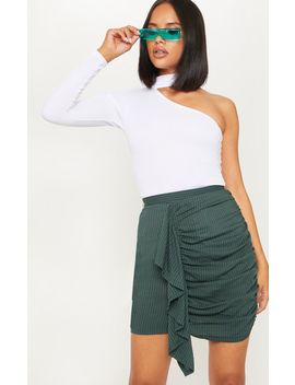 Emerald Green Ruched Drape Mini Skirt by Prettylittlething