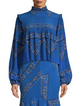 Sandwashed Silk High Neck Printed Blouse by Ganni