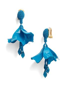 Small Impatiens Flower Drop Earrings by Oscar De La Renta