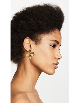 Small Gold Flower Button Earrings by Oscar De La Renta