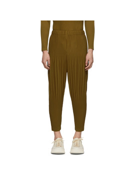 Tan Cropped Wide Pleat Trousers by Homme PlissÉ Issey Miyake
