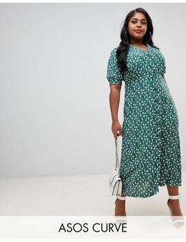 Asos Design Curve Button Through Maxi Tea Dress In Ditsy Floral Print by Asos Design