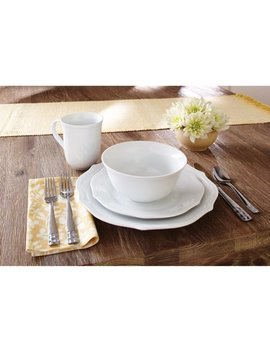Better Homes & Gardens 16 Piece Scalloped Porcelain Dinnerware Set, White by Better Homes & Gardens