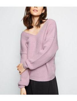 Lilac Twist Back Jumper by New Look