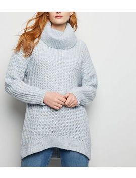 Pale Blue Nep Knit Roll Neck Jumper by New Look