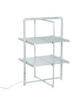 Homcom Electric Cloth Airer 2 Tier Heater Quick Dry Standing Warmer Light Weight Portable Aluminium Frame W/Folding Function by Homcom