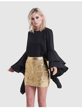 Baroque Leather Mini Skirt by Torannce