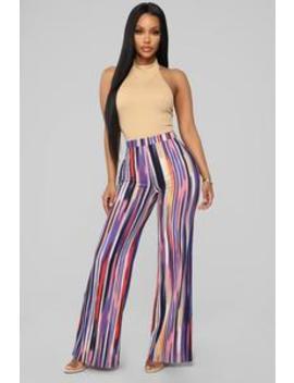 In The Tropics Print Pants   Purple by Fashion Nova
