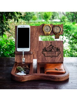 Night Stand Valet,Wood Valet,Personalized Valet,Nightstand Valet,Gift For Dad,Docking Stations,Mens Birthday Gift,Personalized&Nbsp;Gifts For Men by Etsy