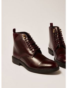 Burgundy Leather Baron Lace Up Boots by Topman
