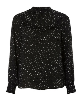 Black Spotted Ruffle Long Sleeve Top by Dorothy Perkins
